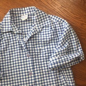 Vintage blue gingham short sleeved button down